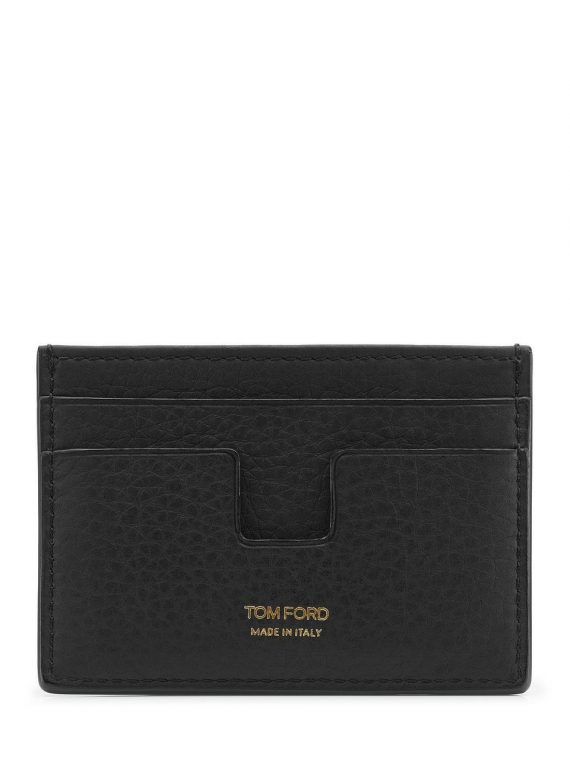 Tom Ford Black  Grained Leather Card Holder